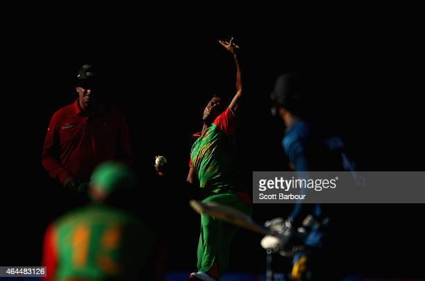 Rubel Hossain of Bangladesh bowls to Kumar Sangakkara of Sri Lanka during the 2015 ICC Cricket World Cup match between Sri Lanka and Bangladesh at...