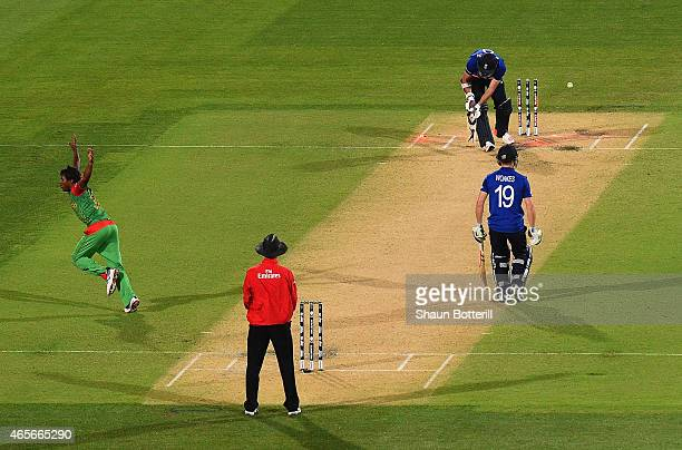 Rubel Hossain of Bangladesh celebrates after taking the last wicket of James Anderson of England during the 2015 ICC Cricket World Cup match between...