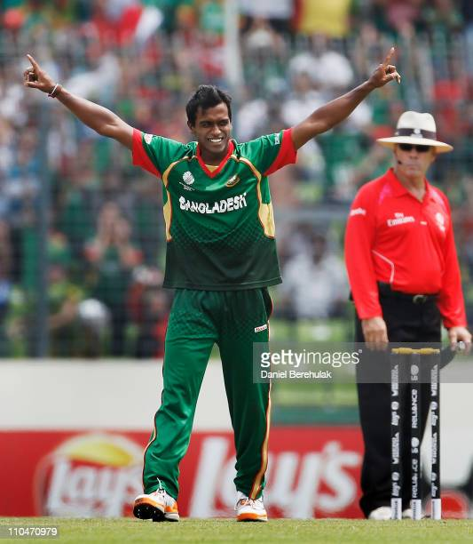 Rubel Hossain of Bangladesh celebrates after taking the wicket of Faf du Plessis of South Africa bats as Mushfiqur Rahim of Bangladesh keeps wicket...