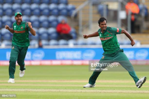 Rubel Hossain of Bangladesh celebrates taking the wicket of Martin Guptill during the ICC Champions Trophy match between New Zealand and Bangladesh...