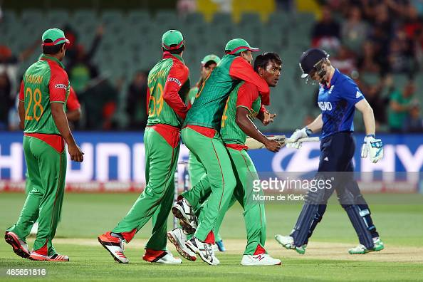 Rubel Hossain of Bangladesh celebrates with teammates after getting the wicket of Eoin Morgan of England during the 2015 ICC Cricket World Cup match...