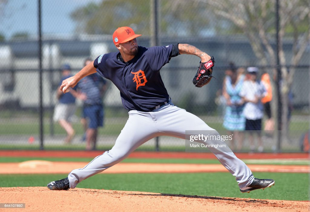 Ruben Alaniz #80 of the Detroit Tigers pitches during Spring Training workouts at the TigerTown facility on February 20, 2017 in Lakeland, Florida.