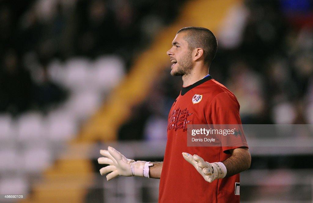 Ruben Andrade of Rayo Vallecano de Madrid reacts during the La Liga match between Rayo Vallecano de Madrid and Granada CF at Teresa Rivero stadium on December 14, 2013 in Madrid, Spain.