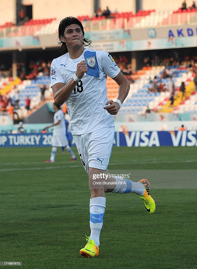 Ruben Bentancourt of Uruguay celebrates scoring his side's third goal during the FIFA U20 World Cup Group F match between Ukbekistan and Uruguay at Akdeniz University Stadium on June 29, 2013 in Antalya, Turkey.