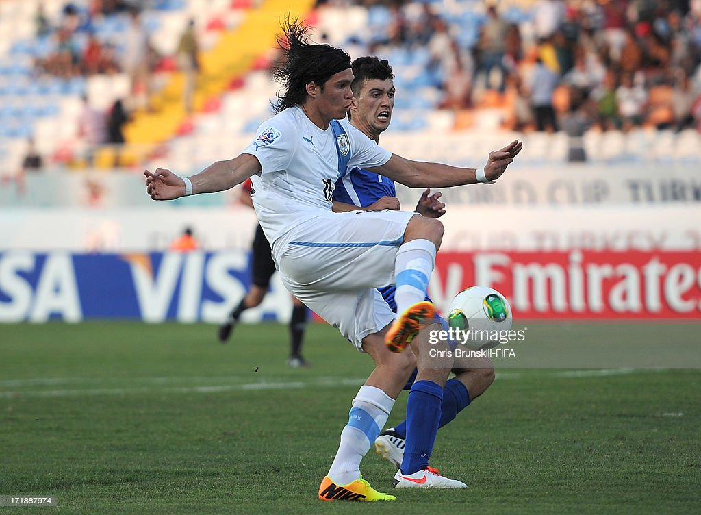 Ruben Bentancourt of Uruguay scores his side's third goal during the FIFA U20 World Cup Group F match between Ukbekistan and Uruguay at Akdeniz University Stadium on June 29, 2013 in Antalya, Turkey.