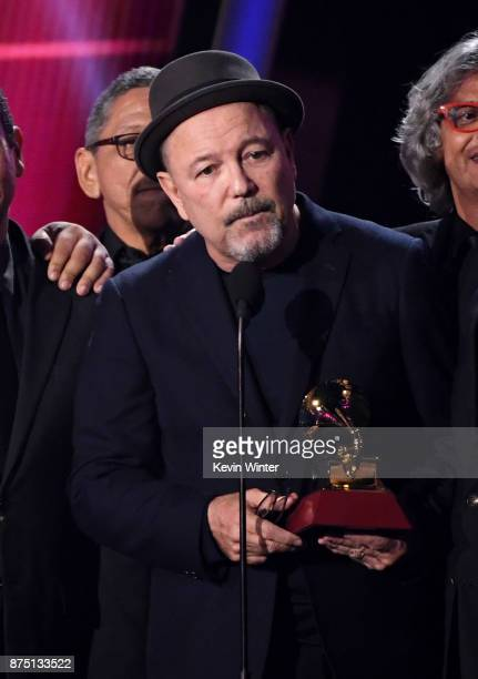 Ruben Blades accepts Album of the Year for 'Salsa Big Band' onstage at the 18th Annual Latin Grammy Awards at MGM Grand Garden Arena on November 16...