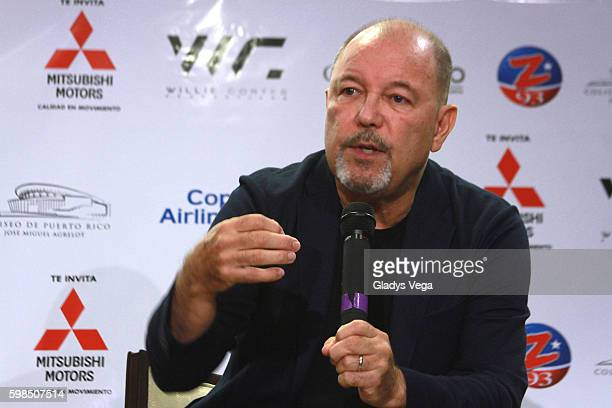 Ruben Blades speaks at a press conference at Coliseo Jose M Agrelot on September 1 2016 in San Juan Puerto Rico