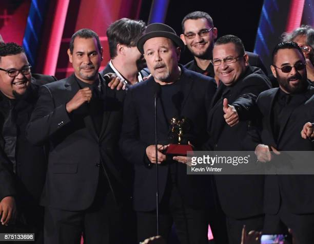 Ruben Blades with Roberto Delgado Orquesta accept Album of the Year for 'Salsa Big Band' onstage at the 18th Annual Latin Grammy Awards at MGM Grand...