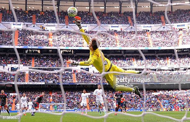 Ruben Blanco of Celta Vigo fails to stop Cristiano Ronaldo of Real Madrid scoring Real's 2nd goal during the La Liga match between Real Madrid CF and...