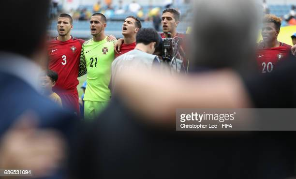Ruben Dias Diogo Costa Diogo Dalot and Jorge Fernandes of Portugal sing their national anthem during the FIFA U20 World Cup Korea Republic 2017 group...