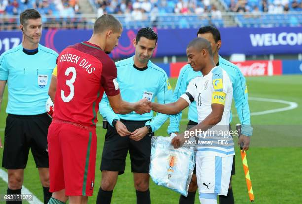 Ruben Dias of Portugal and Nicolas de la Cruz of Uruguay prior to the FIFA U20 World Cup Korea Republic 2017 Quarter Final match between Portugal and...