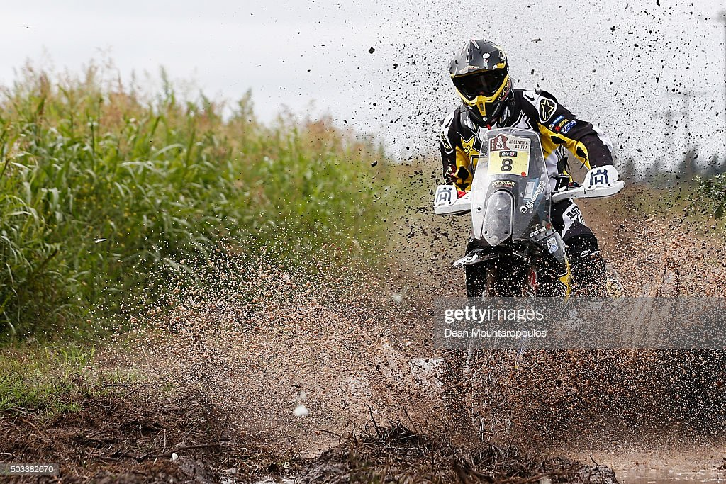 <a gi-track='captionPersonalityLinkClicked' href=/galleries/search?phrase=Ruben+Faria&family=editorial&specificpeople=2092898 ng-click='$event.stopPropagation()'>Ruben Faria</a> of Portugal riding on and for HUSQVARNA 450 RR ROCKSTAR ENERGY HUSQVARNA FACTORY RACING competes between Villa Carlos Paz and Termas de Rio Hondo in the 2016 Dakar Rally on January 4, 2016 near Dean Funes, Argentina.