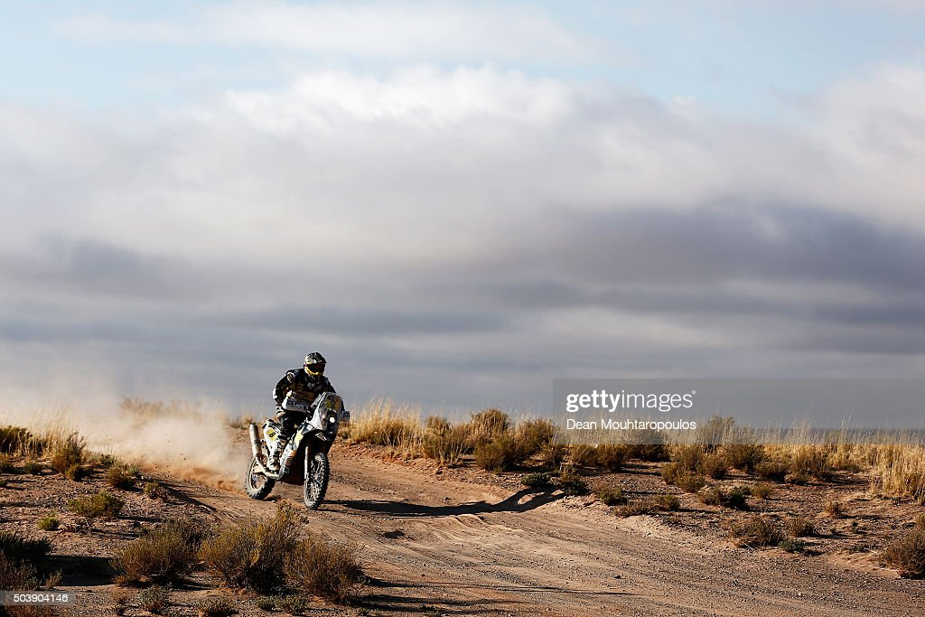 <a gi-track='captionPersonalityLinkClicked' href=/galleries/search?phrase=Ruben+Faria&family=editorial&specificpeople=2092898 ng-click='$event.stopPropagation()'>Ruben Faria</a> of Portugal riding on and for HUSQVARNA 450 RR ROCKSTAR ENERGY HUSQVARNA FACTORY RACING competes on day 5 from Jujuy in Argentina to Uyuni in Bolivia during stage five of the 2016 Dakar Rally on January 7, 2016 in Villazon, Bolivia .