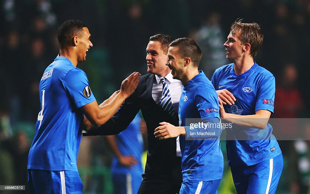 Ruben Gabrielsen of Molde celebrates at full time with team mates during the UEFA Europa League match between Celtic FC and Molde FK at Celtic Park...