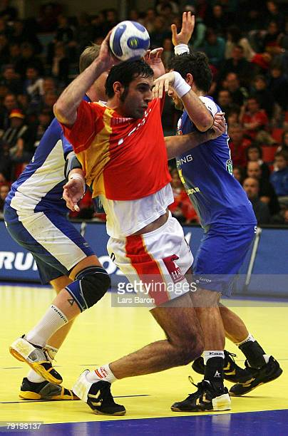 Ruben Garabaya of Spain in action during the Men's Handball European Championship main round Group II match between Spain and Iceland at Trondheim...