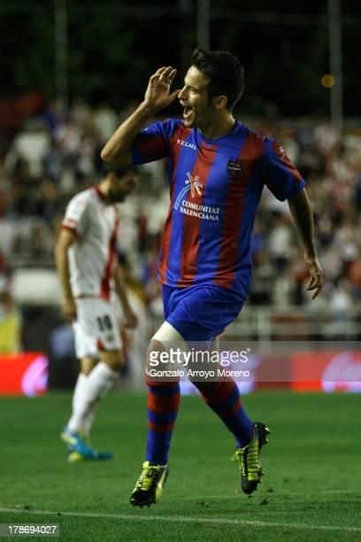 Ruben Garcia celebrates scoring their opening goal during the La Liga match between Rayo Vallecano de Madrid and Levante UD at Estadio Teresa Rivero...