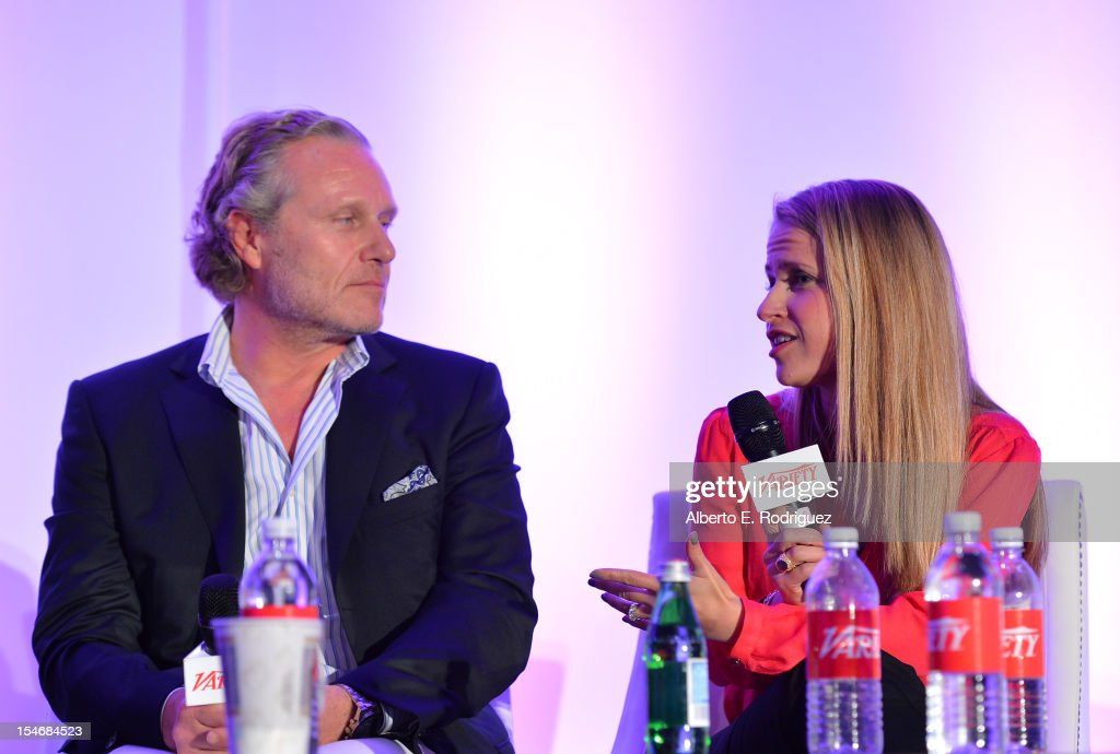 Ruben Igielko-Herrlich, Founder, Propaganda-Gem, and Lauren Radcliffe, Director, Branded Entertainment, Dr. Pepper Snapple Group speak onstage during the Global Partnership panel at Variety's 2012 Film Marketing Summit in Association with Stradella Road at InterContinental Hotel on October 24, 2012 in Century City, California.