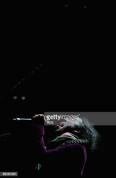 Ruben Isaac Albarran Ortega of the band Cafe Tacvba performs on stage at the World Expo Shanghai 2010 at Jiangnan Square on May 13 2010 in Shanghai...