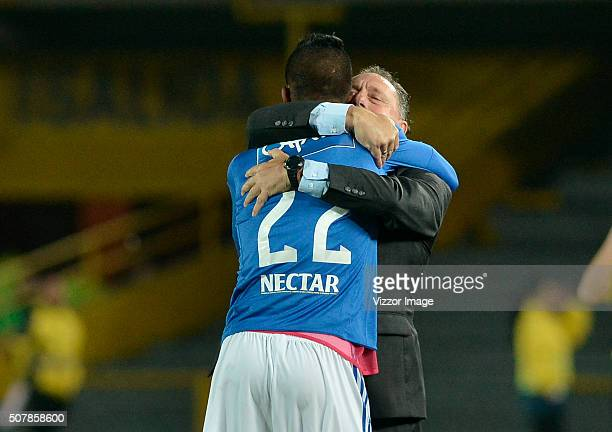 Ruben Israel coach of Millonarios hugs Yulian Mejia after he scored during a match between Millonarios and Patriotas FC as part of Liga Aguila I 2016...