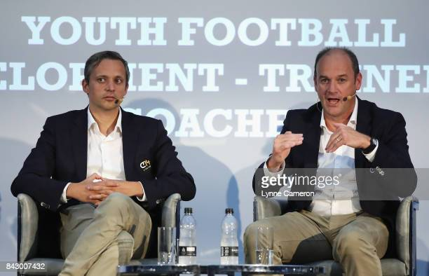 Ruben Jongkind Cruyff Football Head of Talent Development and Bob Browaeys Royal Belgian Football Association Technical Coordinator talk during day 2...