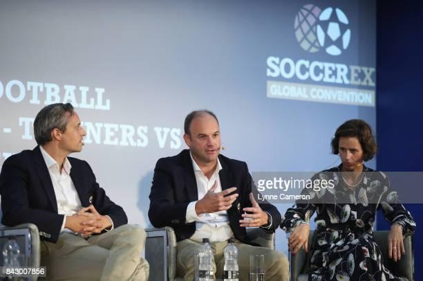 Ruben Jongkind Cruyff Football Head of Talent Development and Bob Browaeys Royal Belgian Football Association Technical Coordinator and Maria Ruiz de...