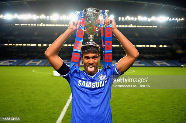 Ruben Loftus Cheek of Chelsea celebrates with the trophy during the FA Youth Cup Final Second Leg match between Chelsea U18 and Fulham U18 at...