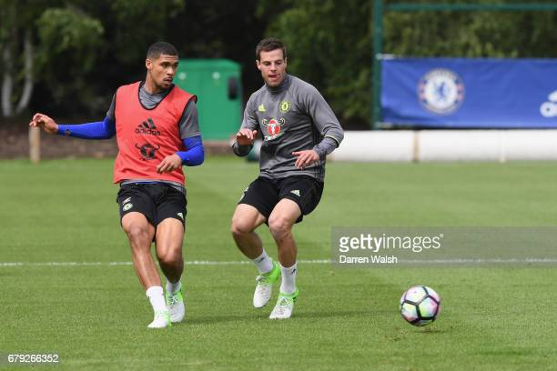 Ruben LoftusCheek and Cesar Azpilicueta of Chelsea during a training session at Chelsea Training Ground on May 5 2017 in Cobham England