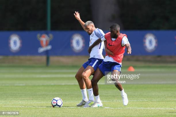 Ruben LoftusCheek and Fikayo Tomori of Chelsea during a training session at Chelsea Training Ground on July 10 2017 in Cobham England