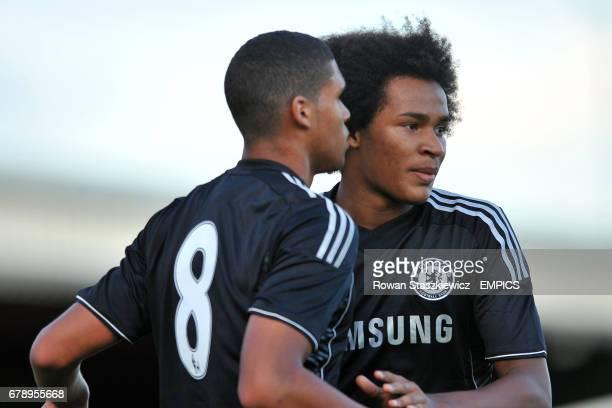 Ruben LoftusCheek and Isaiah Brown celebrate scoring Chelsea's second goal