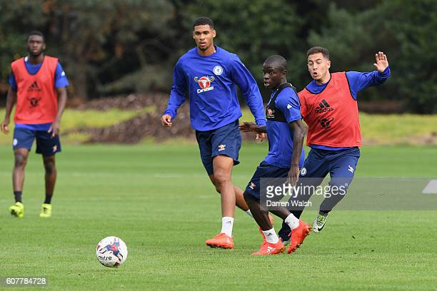 Ruben LoftusCheek N'Golo Kante and Eden Hazard of Chelsea during a training session at Chelsea Training Ground on September 19 2016 in Cobham England