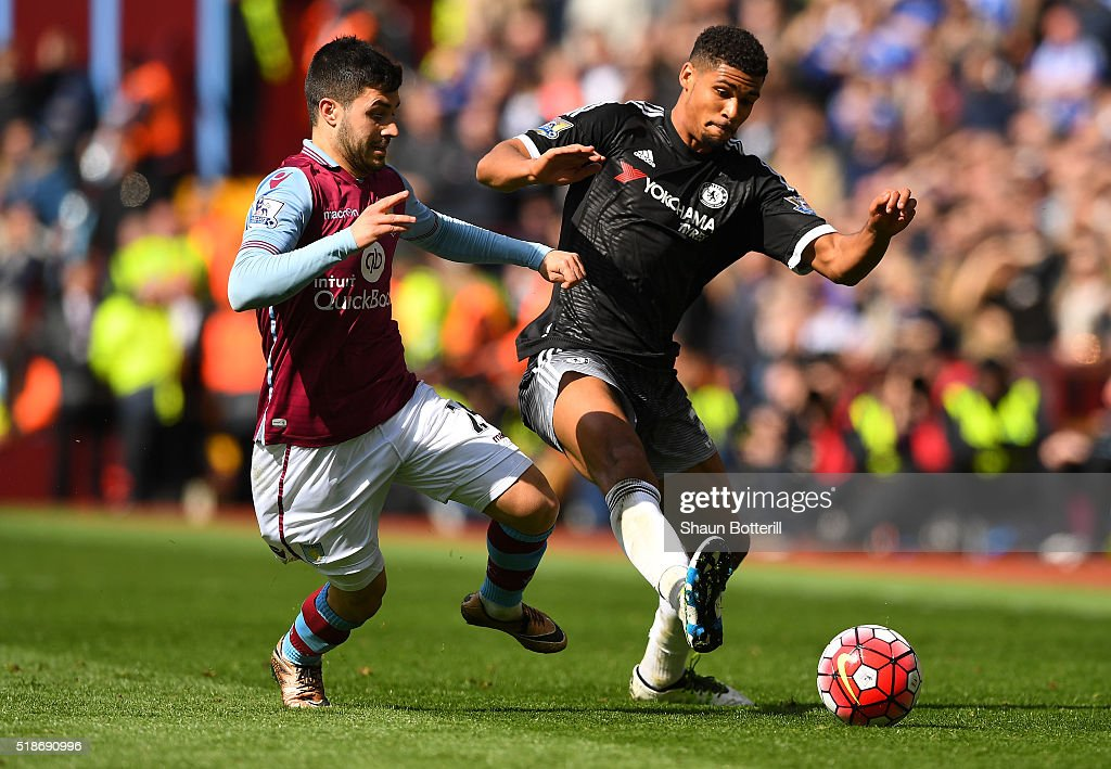 Ruben Loftus-Cheek of Chelsea and Carles Gil of Aston Villa compete for the ball during the Barclays Premier League match between Aston Villa and Chelsea at Villa Park on April 2, 2016 in Birmingham, England.