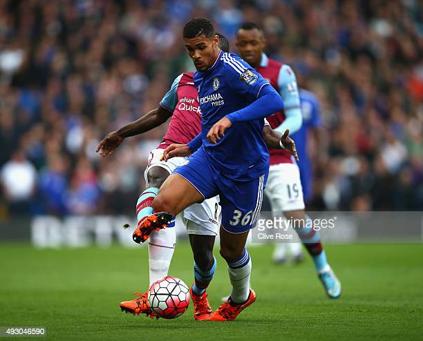 Ruben LoftusCheek of Chelsea and Idrissa Gueye of Aston Villa compete for the ball during the Barclays Premier League match between Chelsea and Aston...