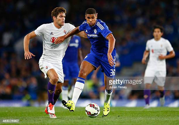 Ruben LoftusCheek of Chelsea battles with Marcos Alonso of Fiorentina during the Pre Season Friendly match between Chelsea and Fiorentina at Stamford...