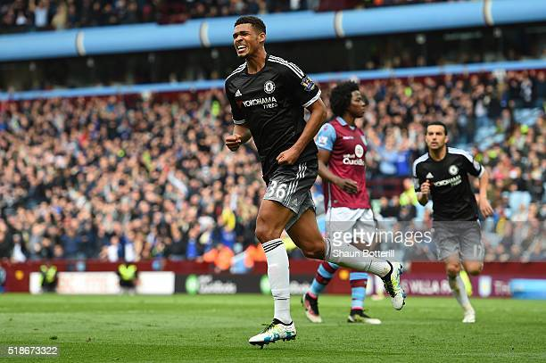 Ruben LoftusCheek of Chelsea celebrates scoring his team's first goal during the Barclays Premier League match between Aston Villa and Chelsea at...
