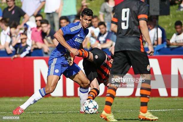 Ruben LoftusCheek of Chelsea FC fights for the ball with Oleksandr Zubkov of Shakhtar Donetsk during the UEFA Youth League Final match between...