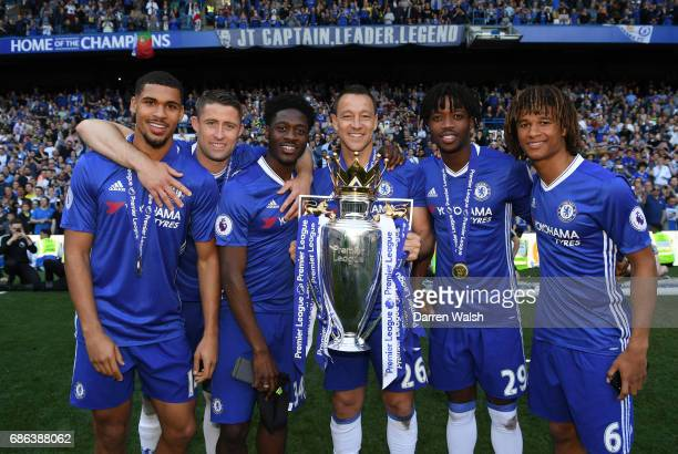 Ruben LoftusCheek of Chelsea Gary Cahill of Chelsea Ola Aina of Chelsea Michy Batshuayi of Chelsea and Nathan Ake of Chelsea all pose with the...