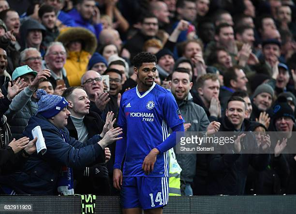 Ruben LoftusCheek of Chelsea interacts with supporters during the Emirates FA Cup Fourth Round match between Chelsea and Brentford at Stamford Bridge...