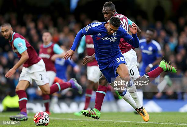 Ruben LoftusCheek of Chelsea is challenged by Michail Antonio of West Ham United resulting in a penalty during the Barclays Premier League match...