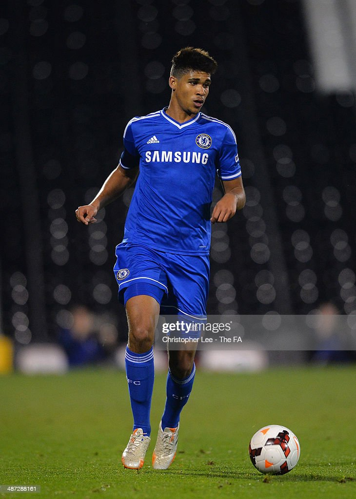 Ruben Loftus-Cheek of Chelsea U18 in action during the FA Youth Cup Final First Leg match between Fulham U18 and Chelsea U18 at Craven Cottage on April 28, 2014 in London, England.