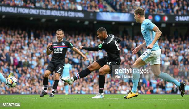 Ruben LoftusCheek of Crystal Palace shoots during the Premier League match between Manchester City and Crystal Palace at Etihad Stadium on September...
