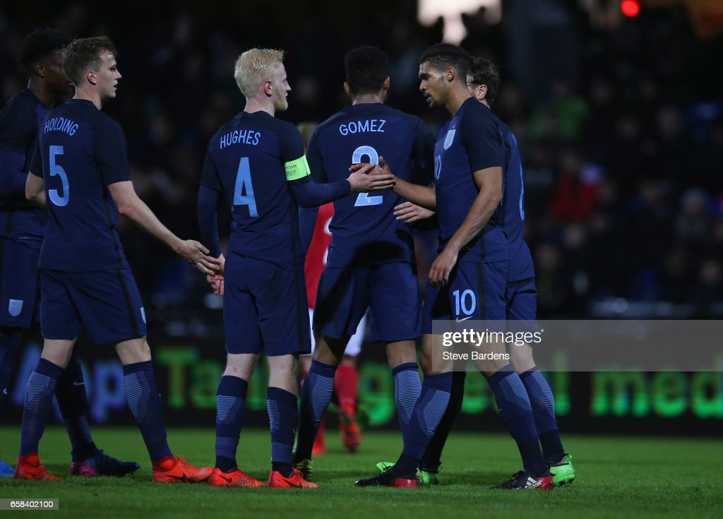Ruben Loftus-Cheek of England (10) celebrates as he scores their fourth goal with Will Hughes (4) during the U21 international friendly match between Denmark and England at BioNutria Park on March 27, 2017 in Randers, Denmark.