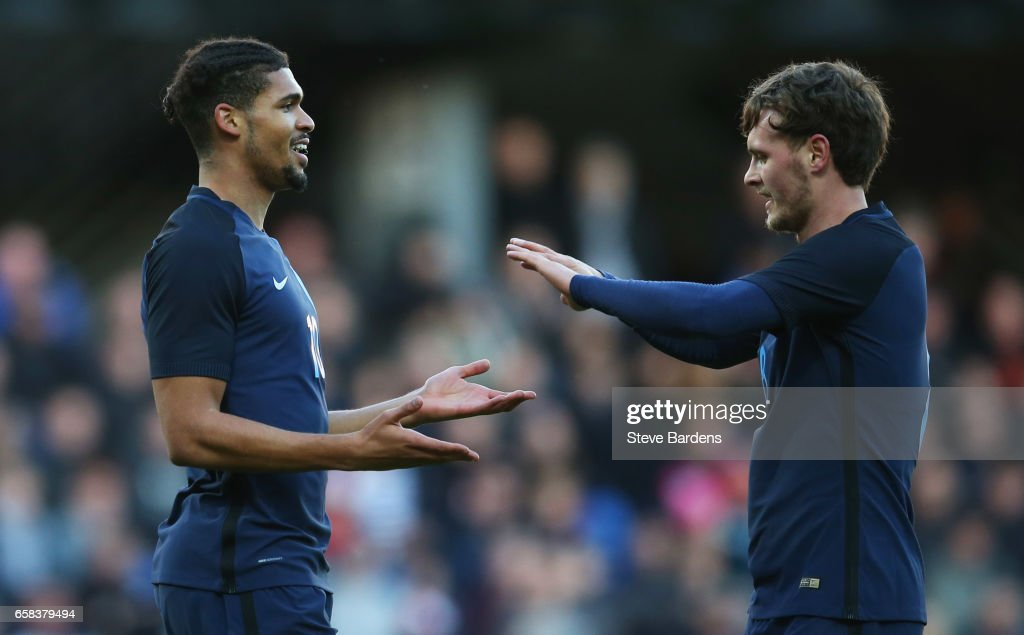Ruben Loftus-Cheek of England (L) celebrates as scores their first goal with with John Swift during the U21 international friendly match between Denmark and England at BioNutria Park on March 27, 2017 in Randers, Denmark.