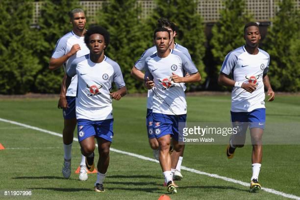 Ruben LoftusCheek Pedro Lucas Piazon Willian Jeremie Boga and Charly Musonda of Chelsea during a training session at Chelsea Training Ground on July...