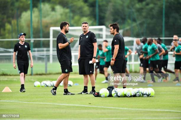Ruben Martinez Oscar Garcia and Enrique Sanz of Saint Etienne during Press conference and training session of AS SaintEtienne on June 26 2017 in...