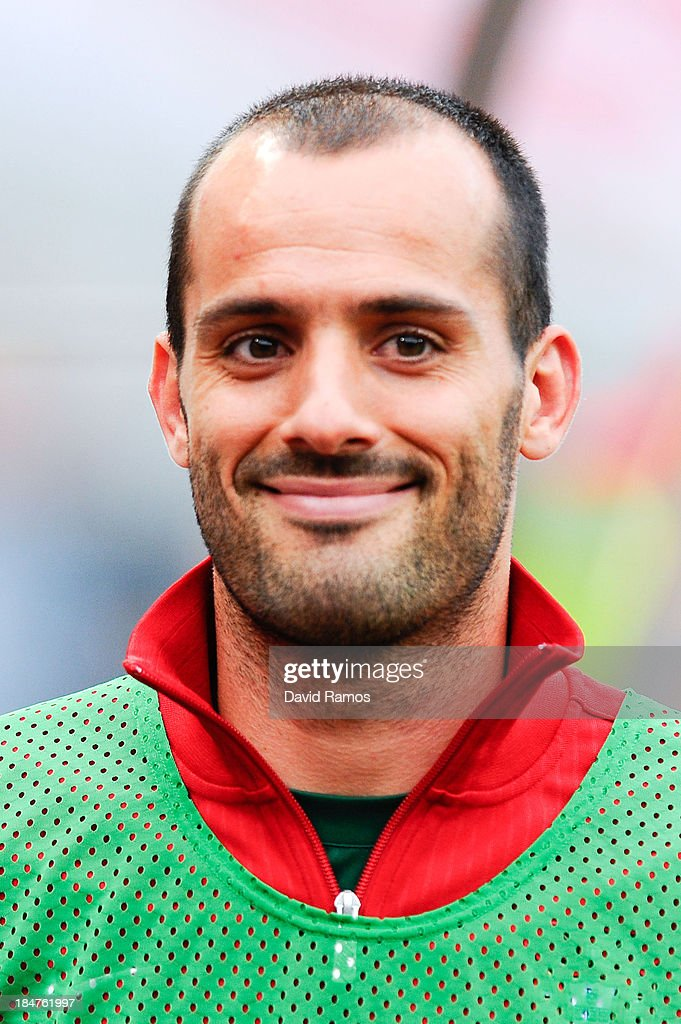 <a gi-track='captionPersonalityLinkClicked' href=/galleries/search?phrase=Ruben+Micael&family=editorial&specificpeople=5848979 ng-click='$event.stopPropagation()'>Ruben Micael</a> of Portugal looks on priot to the FIFA 2014 World Cup Qualifier match between Portugal and Luxembourg at Estadio Cidade de Coimbra on October 15, 2013 in Coimbra, Portugal.