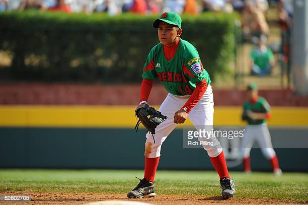 Ruben Molina of the Matamoros Little League team fields during the World Series Championship game against the Waipio Little League team at Lamade...