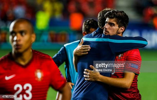 Ruben Neves of Portugal with his teammates show dejection after UEFA U21 European Championship final match between Portugal and Sweden at Eden...