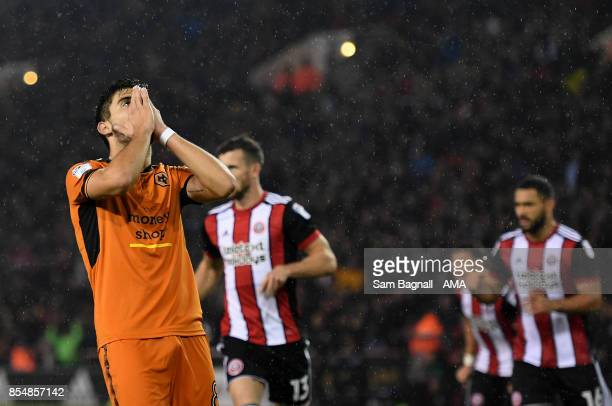 Ruben Neves of Wolverhampton Wanderers after missing a penalty kick during the Sky Bet Championship match between Sheffield United and Wolverhampton...