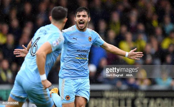 Ruben Neves of Wolverhampton Wanderers celebrates after Romain Saiss of Wolverhampton Wanderers scored a goal to make it 02 during the Sky Bet...