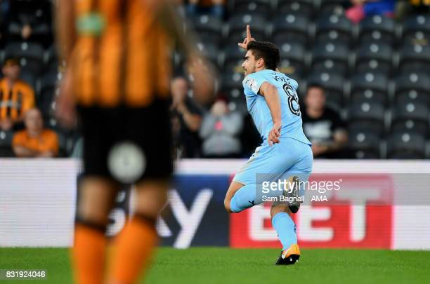 Ruben Neves of Wolverhampton Wanderers celebrates after scoring a goal to make it 01 during the Sky Bet Championship match between Hull City and...